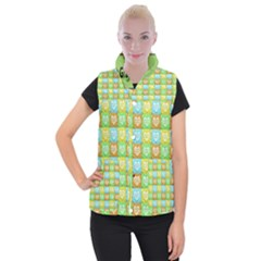 Colorful Happy Easter Theme Pattern Women s Button Up Puffer Vest