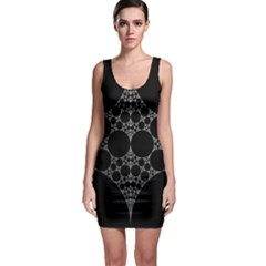 Drawing Of A White Spindle On Black Sleeveless Bodycon Dress
