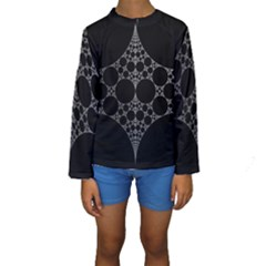 Drawing Of A White Spindle On Black Kids  Long Sleeve Swimwear