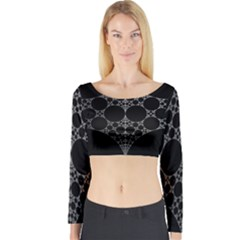 Drawing Of A White Spindle On Black Long Sleeve Crop Top