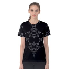 Drawing Of A White Spindle On Black Women s Cotton Tee