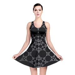 Drawing Of A White Spindle On Black Reversible Skater Dress