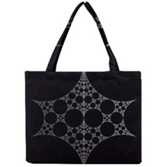 Drawing Of A White Spindle On Black Mini Tote Bag