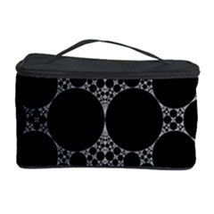 Drawing Of A White Spindle On Black Cosmetic Storage Case