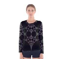 Drawing Of A White Spindle On Black Women s Long Sleeve Tee