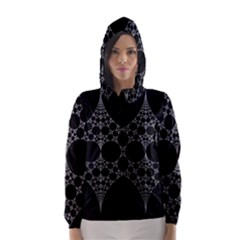 Drawing Of A White Spindle On Black Hooded Wind Breaker (Women)