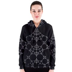 Drawing Of A White Spindle On Black Women s Zipper Hoodie