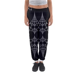 Drawing Of A White Spindle On Black Women s Jogger Sweatpants