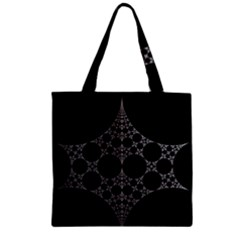Drawing Of A White Spindle On Black Zipper Grocery Tote Bag