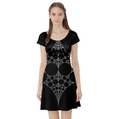 Drawing Of A White Spindle On Black Short Sleeve Skater Dress