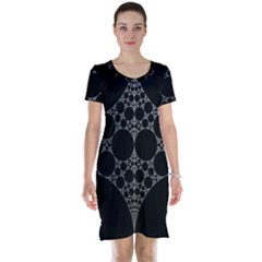 Drawing Of A White Spindle On Black Short Sleeve Nightdress