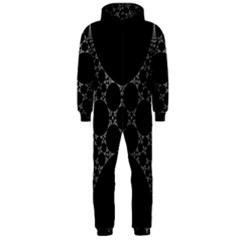 Drawing Of A White Spindle On Black Hooded Jumpsuit (men)