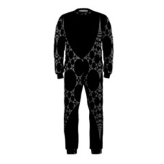 Drawing Of A White Spindle On Black OnePiece Jumpsuit (Kids)
