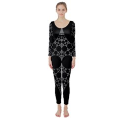 Drawing Of A White Spindle On Black Long Sleeve Catsuit