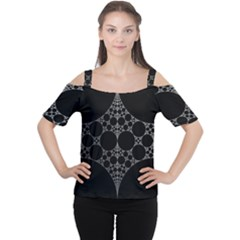 Drawing Of A White Spindle On Black Women s Cutout Shoulder Tee