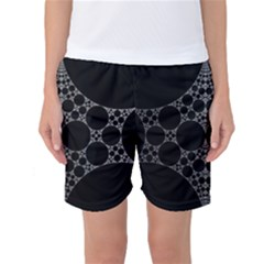 Drawing Of A White Spindle On Black Women s Basketball Shorts