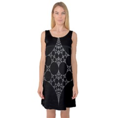 Drawing Of A White Spindle On Black Sleeveless Satin Nightdress