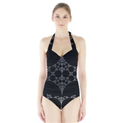 Drawing Of A White Spindle On Black Halter Swimsuit