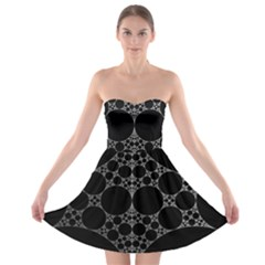 Drawing Of A White Spindle On Black Strapless Bra Top Dress