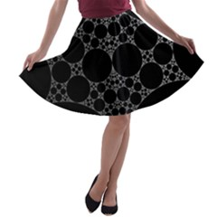Drawing Of A White Spindle On Black A Line Skater Skirt