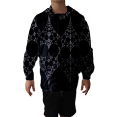 Drawing Of A White Spindle On Black Hooded Wind Breaker (Kids)