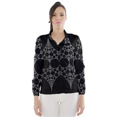 Drawing Of A White Spindle On Black Wind Breaker (Women)