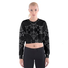 Drawing Of A White Spindle On Black Cropped Sweatshirt