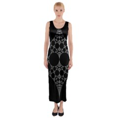 Drawing Of A White Spindle On Black Fitted Maxi Dress