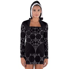 Drawing Of A White Spindle On Black Women s Long Sleeve Hooded T-shirt