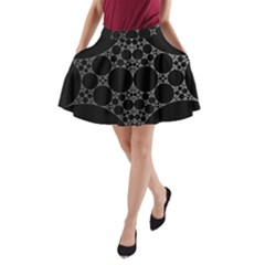 Drawing Of A White Spindle On Black A-Line Pocket Skirt