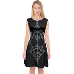 Drawing Of A White Spindle On Black Capsleeve Midi Dress