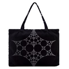 Drawing Of A White Spindle On Black Medium Zipper Tote Bag
