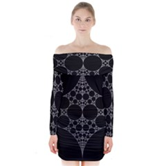 Drawing Of A White Spindle On Black Long Sleeve Off Shoulder Dress