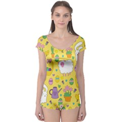Cute Easter pattern Boyleg Leotard