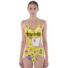 Cute Easter pattern Cut-Out One Piece Swimsuit