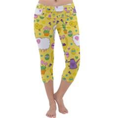 Cute Easter pattern Capri Yoga Leggings