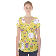 Cute Easter pattern Short Sleeve Front Detail Top