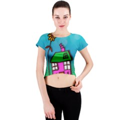 Cartoon Grunge Cat Wallpaper Background Crew Neck Crop Top