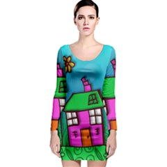 Cartoon Grunge Cat Wallpaper Background Long Sleeve Bodycon Dress