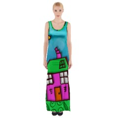 Cartoon Grunge Cat Wallpaper Background Maxi Thigh Split Dress
