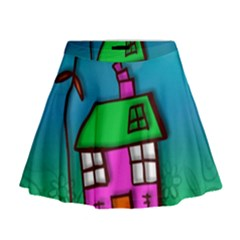 Cartoon Grunge Cat Wallpaper Background Mini Flare Skirt