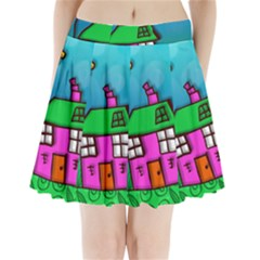 Cartoon Grunge Cat Wallpaper Background Pleated Mini Skirt
