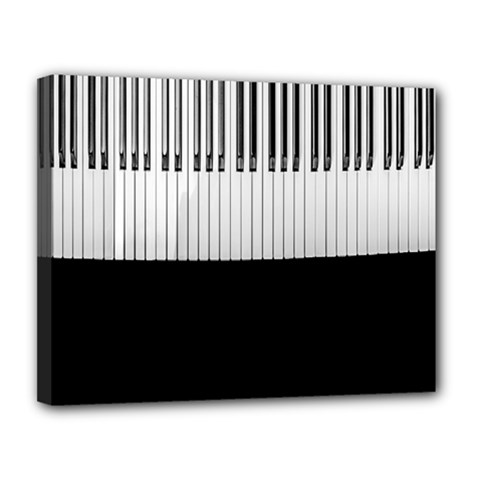 Piano Keys On The Black Background Canvas 14  x 11