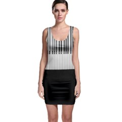 Piano Keys On The Black Background Sleeveless Bodycon Dress