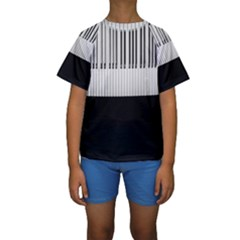 Piano Keys On The Black Background Kids  Short Sleeve Swimwear