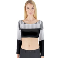 Piano Keys On The Black Background Long Sleeve Crop Top