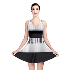 Piano Keys On The Black Background Reversible Skater Dress