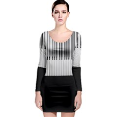 Piano Keys On The Black Background Long Sleeve Bodycon Dress