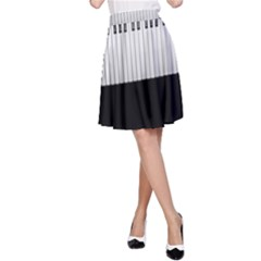 Piano Keys On The Black Background A-Line Skirt
