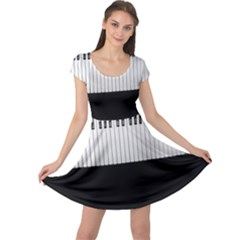 Piano Keys On The Black Background Cap Sleeve Dresses